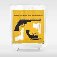 taxi driver Shower Curtains featuring No087 My Taxi Driver minimal movie poster by Chungkong