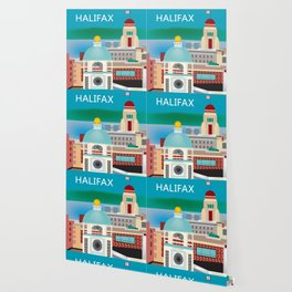 Halifax, Nova Scotia, Canada - Skyline Illustration by Loose Petals Wallpaper
