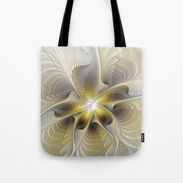 Gold And Silver, Abstract Flower Fractal Tote Bag