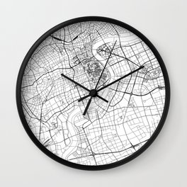 Shanghai White Map Wall Clock