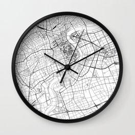 Shanghai White Map Wall Clock