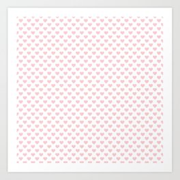 Large Millennial Pink Pastel Love Hearts On White Art Print