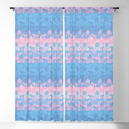 pink and blue unicorns Blackout Curtain
