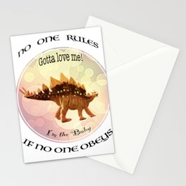 No One Rules If No One Obeys Baby Scelidosaurus Dinosaur Design for #Society6 Stationery Cards