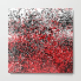 Gray to Red Pixel Gradient Metal Print