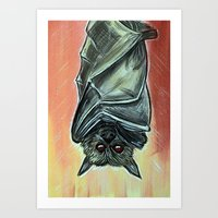 bat Art Prints featuring Bat by MSG Imaging