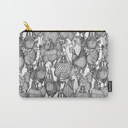 just chickens black white Carry-All Pouch