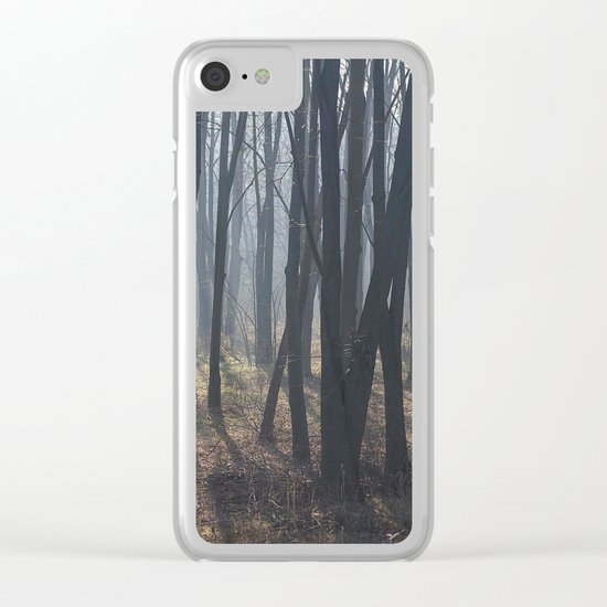 Fog Autumn forest Clear iPhone Case