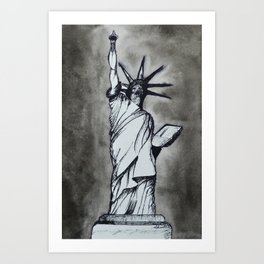 The Statue Of Liberty In Shades Of Grey Art Print