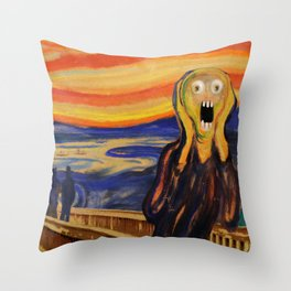 The Screamer - Really Freaked Out Throw Pillow