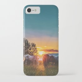 Horse Sunrise (Color) iPhone Case
