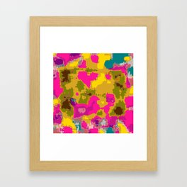 psychedelic geometric painting texture abstract in pink yellow brown blue Framed Art Print