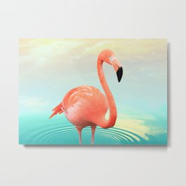 Sunset Flamingo Metal Print