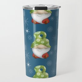 Blue Winter Gnome Pattern Travel Mug