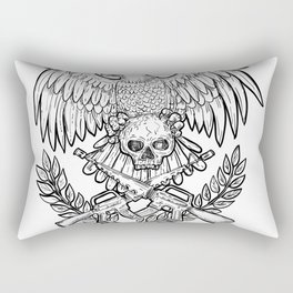 Eagle Skull Assault Rifle Drawing Rectangular Pillow