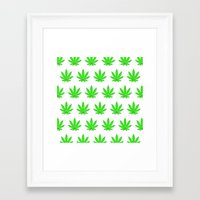 marijuana Framed Art Prints featuring Marijuana Leaves by Mobii