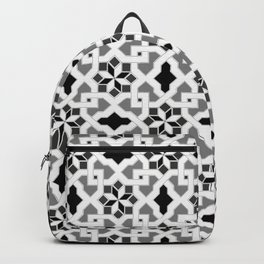 black and white -  Oriental design - orient  pattern - arabic style geometric mosaic Backpack