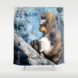 Zen Meditating Mandrill Shower Curtain