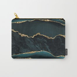 Teal And Gold Marble Waves Carry-All Pouch