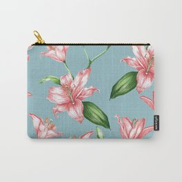 Climbing Lily Pink Blue Carry-All Pouch