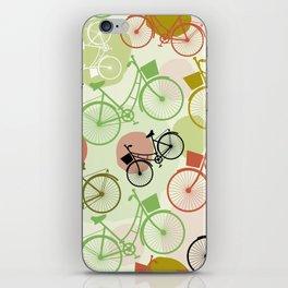 Vintage bicycles, seamless pattern, pastel green brown beige colors iPhone Skin