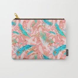 Feather peacock peach mint #10 Carry-All Pouch