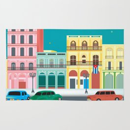 Havana, Cuba - Skyline Illustration by Loose Petals Rug