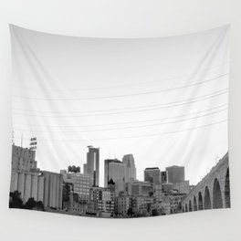 Minneapolis Skyline Black and White Wall Tapestry