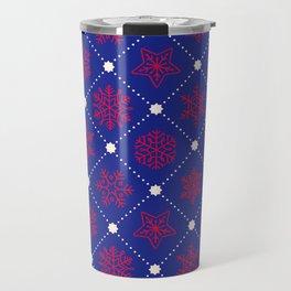 Christmas Snowflakes&Stars  Blue&Red Travel Mug