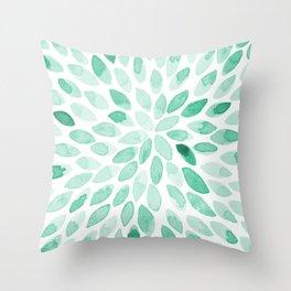 Watercolor brush strokes - aqua Throw Pillow