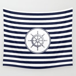 Steering Wheel and Navy Blue Stripes Wall Tapestry