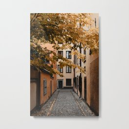 Autumn in Stockholm, Sweden   Gamla Stan   old city centre   alley   old buildings   colored houses   bright colors   city print   travel photography   travel print   art print Metal Print