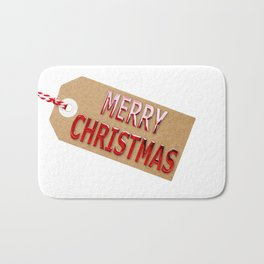 Merry Christmas Gift Tag Bath Mat