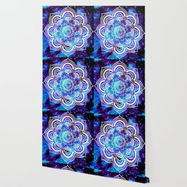Mandala : Bright Violet & Teal Galaxy Wallpaper