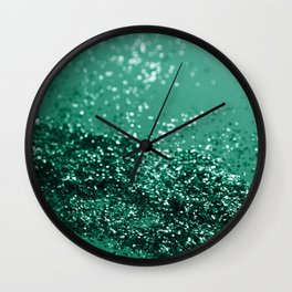 Sparkling EMERALD Lady Glitter #1 #shiny #decor #art #society6 Wall Clock