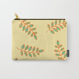 Speckled Leaf Prints in orange, teal blue on pale yellow Carry-All Pouch