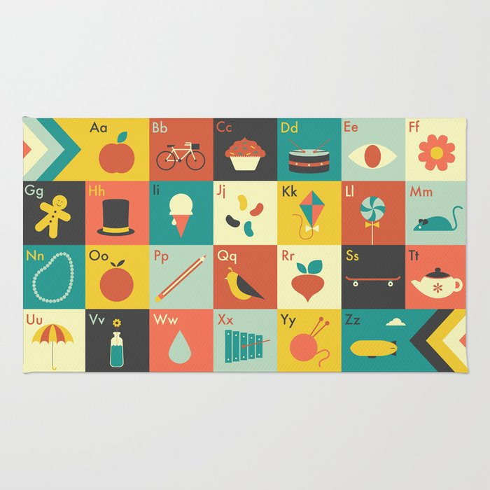 Illustrated Alphabet Rug By Arielwilson