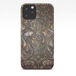 Golden Brown Carved Tooled Leather iPhone Case