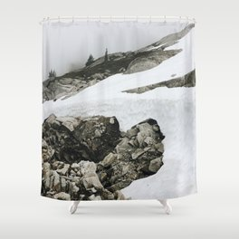 Snowy Cascade Trail Shower Curtain