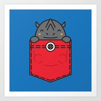 pocket Art Prints featuring Pocket Rhino by Steven Toang