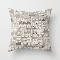city Throw Pillows featuring city by rubyetc