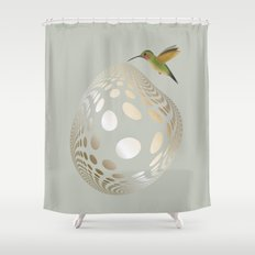 Hummingbird and Bubble Shower Curtain