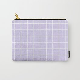 Lavender white minimalist grid pattern Carry-All Pouch