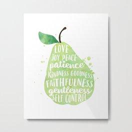 Watercolor pear | Fruit of the spirit | Green watercolor pear art print Metal Print