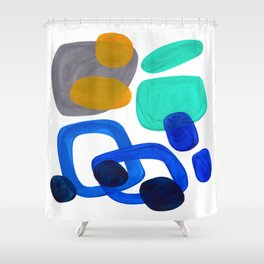 Minimalist Abstract Mid Century Modern Expressionist Organic Pattern Colorful Blue Aquamarine Teal Shower Curtain