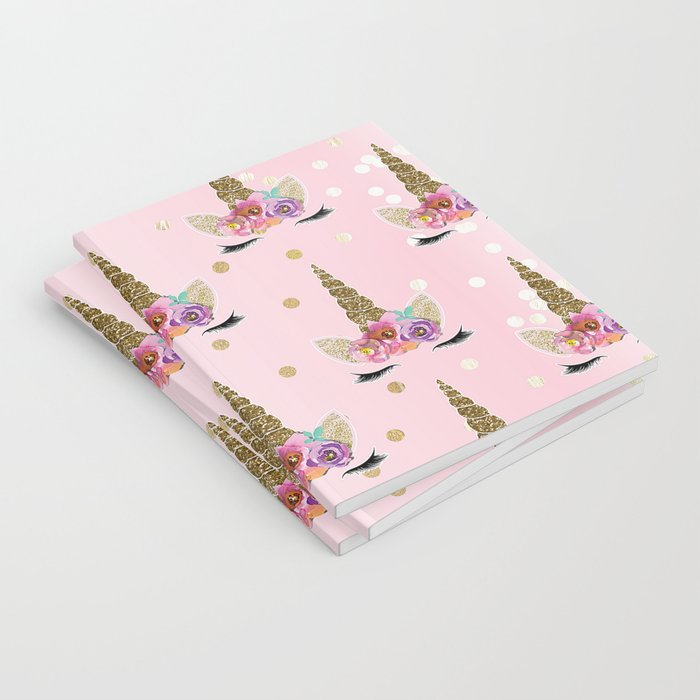 Floral Trendy Modern Unicorn Horn Gold Confetti Notebook by christyne  270ed1895e04f