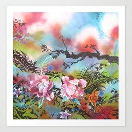 Pink Peonies Street Style Art Print