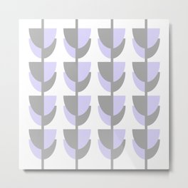 Tulips In Spring Time - Lavender and Grey on White - Tulips in Springtime series Metal Print