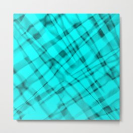 Bright metal mesh with light blue intersecting diagonal lines and stripes. Metal Print