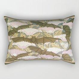 Vintage ART Nouveau Bat Floral Pattern Rectangular Pillow